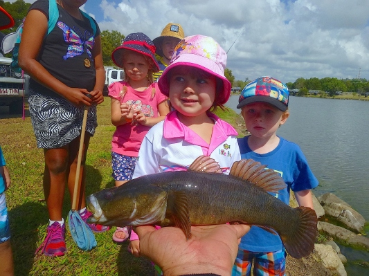 The first fish of the day attracted a crowd!